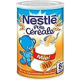 Nestlé Bébé P'tite Céréale Miel - Céréales Déshydratées dès 8 Mois - Boîte de 400g - Lot de 4