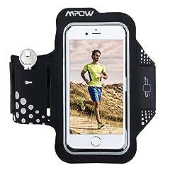 Idea Regalo - Mpow Fascia Sportiva da Braccio Sweatproof Bracciale per Corsa & Esercizi con Supporto Chiave e Riflettente Armband per iPhone7/6s/6, Samsung Galaxy S7, S6, etc - Nero