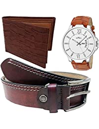 XPRA Analog Watch, Brown PU Leather Belt & Brown Leather Wallet For Men/Boys Combo (Pack Of 3) - (WL-3CMB-26)