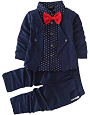 Si Noir by Hopscotch Boys AOP Blazer Style Shirt and Pant Set in Navy Colour
