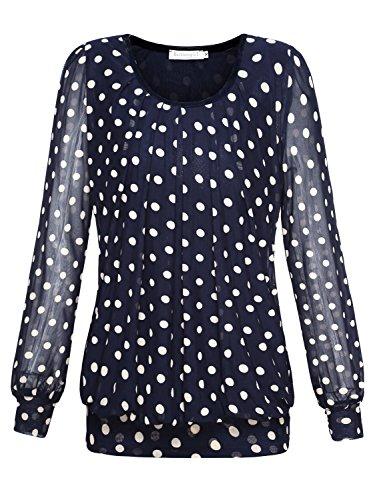 BAISHENGGT Damen Langarmshirt Rundhals Falten Shirt Stretch Tunika Blau-Kaffee XL (Shirt Stretch-fit)