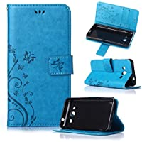 Beiuns Funda de PU piel para Samsung Galaxy Core 2 / Core 2 Duos (4,5 pulgadas) Carcasa - R149 azul hermoso