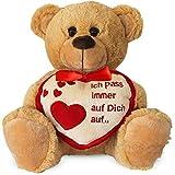 matches21 Teddybär Herz Teddy Ich Pass Immer Auf Dich Auf Hellbraun / beige 25 cm Geschenk Klassiker Partner Freundin Valentinstag