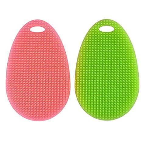 shizak multifonction en silicone plat plat Brosse à récurer éponge pour lavage de nettoyage multifonction pour fruits Rondelle/légumes/résistant à la chaleur tapis/Gants (Lot de 2, Vert et