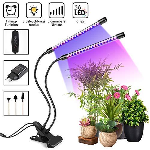 VAN 18W Timing Doppelkopf LED Pflanzenlampen,2Arbeitsmodi,3Arten von Beleuchtung,5Arten von Helligkeit,36 LED-Chips,Für Zimmerpflanzen,360°Einstellbar Flexibles und Geschenkzubehör ()