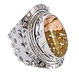 Hermoso anillo de jaspe natural del océano, tamaño 7 de EE. UU, plata de...