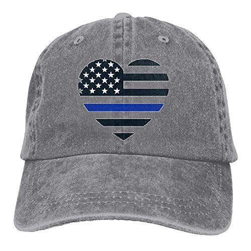 Thin Blue Line USA Heart Decal Unisex Washed Twill Cotton Baseball Cap Vintage Adjustable Hat Bio Washed Cap