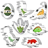 KAISHANE Dinosaur Cookie Cutters Set for Kids 7 Pieces Biscuit Pastry Cake Stainless Steel Cutters for Kids Dinosaur Party Decorations