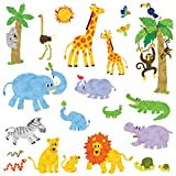 Decowall DW-1513 Jungle Animals Kids Wall Stickers Wall Decals Peel and Stick Removable Wall Stickers for Kids Nursery Bedroom Living Room