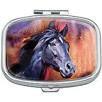 Black Horse Portrait Malerei Indigo Night Rechteck Pille Fall Schmuckkästchen Geschenk-Box preisvergleich bei billige-tabletten.eu