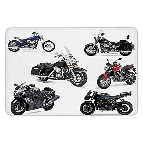 Bathroom Bath Rug Kitchen Floor Mat Carpet,Motorcycle,Unique Original Motorcycles Set Freestyle Action Life with Winged Wheels Hobby Print,Multi,Flannel Microfiber Non-Slip Soft Absorbent -
