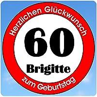 bedrucktes Aluschild 305 x 305 mm - Motiv Geburtstag 60 mit Wunschnamen und Wunschalter