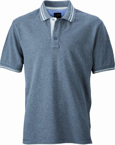 Baumwolle Polo-shirt (James & Nicholson Herren Poloshirt Poloshirt Men's Lifestyle grau (grey-melange/off-white) XX-Large)