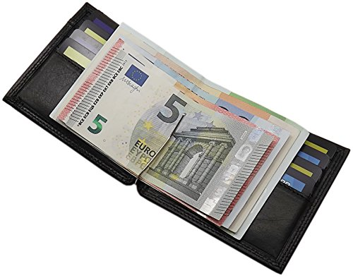 Echt Leder Dollarclip Geldbörse mit Geldklammer in Vegetabil Gegerbtem Rinderleder MJ-Design-Germany in Schwarz (Geldbörse Amerikanische)