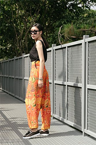 Lofbaz Women's Sweet Elephants Smocked Waist Boho Trousers Hippy Orange M
