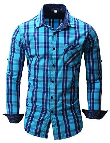 Pinkpum Kariertes Herren Langarmhemd mit Krempelarm - Fitted Herren-Hemd,Hemd,Trachten-Hemd Blau 4 M