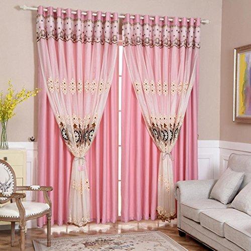MFFACAI Vorhang Einfach Modern Doppelt Garn Stanztyp Dreidimensional Applique Schattierung Vorhang Boden bis zur Decke Windows Leinen Vorhänge aus Baumwolle Wohnzimmer Schlafzimmer Rosa, o (Rosa Gemischt Garn)