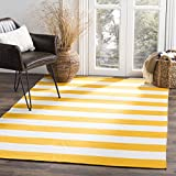 Safavieh Whitman-Alfombra algodón, color blanco/amarillo 152 X 91 cm