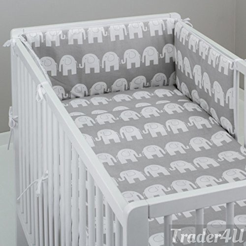 MillaLu 3 Pcs Baby Nursery Bedding Set fit to Cot 120x60cm or Cot Bed 140x70cm Padded Bumper (Fit to Cot Bed 140x70 cm, White Elephants on Grey)