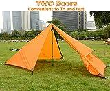 GEERTOP Außenzelt Kuppelzelt Zelt Minipack 20D Ultralight - 210 x 90 x 105 cm (790g) -1 Personen 3 Saison für Camping Wandern Klettern (nicht im Lieferumfang enthalten) (Orange, Außenzelt) -