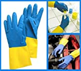 #3: Reusable Rubber Latex Household Kitchen Non Slip Gloves, FREE Size - For Laundry, Dish-washing, Scrubbing Floors, Gardening etc