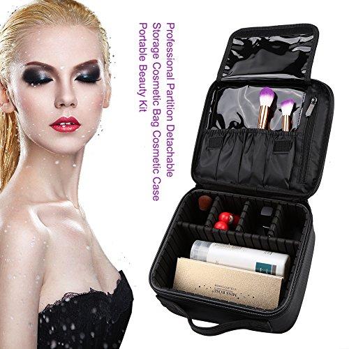 Grande Sac à cosmétique amovible pour étui cosmétique professionnel - Kit beauté portatif - Noir