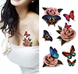 1 Blatt Temporäre 3D Tattoos Blume Aufkleber für Arm Schultern Taille Brust Backe Tattoo Aufkleber Aufkleber Damen DIY Body Art