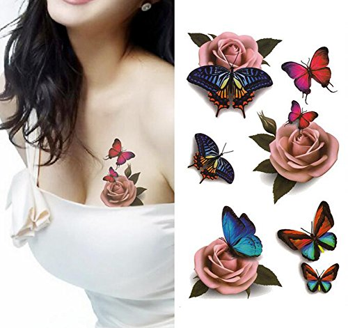 (1 Blatt Temporäre 3D Tattoos Blume Aufkleber für Arm Schultern Taille Brust Backe Tattoo Aufkleber Aufkleber Damen DIY Body Art)