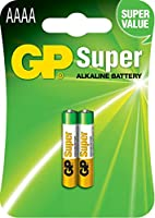 GP Batteries 1.5 V SUPER Alkaline Specialties AAAA Battery (Pack of 2)