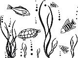 GRAZDesign 650078_30_070 Wandtattoo Unterwasserwelt/Fische/Aquarium | Badezimmer-Tattoo an die Wand/Fliesen/Spiegel (40x30cm//070 schwarz)