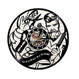 WANGXN Disque Vinyle Horloge Barber Shop Thème en Barbier Nous Faisons Confiance à Art Clock Cadeau Unique pour Hair Salon Shop