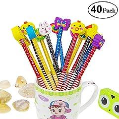 Idea Regalo - Set matita del fumetto, Attiant 40 Pcs matita in legno con gomma matite grafite colorate con gomme, Materiale Scolastico Regalo dei Bambini, for festa di compleanno bambini party Festival