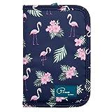 Reisebrieftasche Reiseorganizer Mappe Reisepass Reise-Dokumente Tasche mit RFID Kreditkarten-Halter Wasserdicht Reiseunterlagen Ausweistasche Handtasche Organizer Tickettasche, ManKn (Flamingo-RFID)