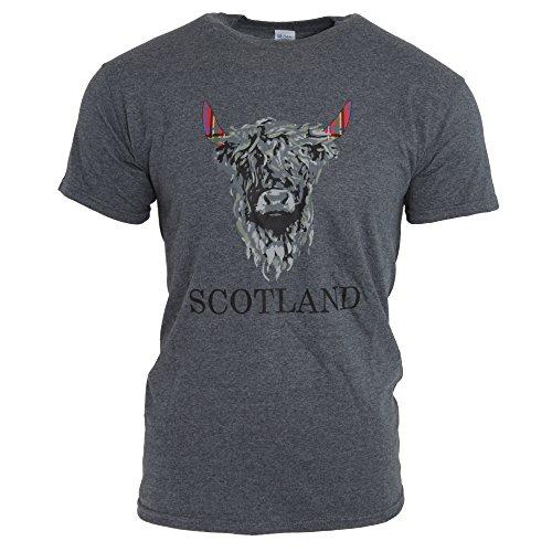 Unisex T-Shirt mit Aufdruck Schottland und Kuh, kurzärmlig (M) (Dunkel meliert)
