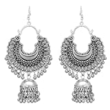 #2: Roops Collexion Afgani Chand German Silver Oxidized Grey Jhumki Earrings for Women
