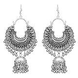 #8: RC Afgani Chand German Silver Oxidized Jhumki Earrings for Girls and Women