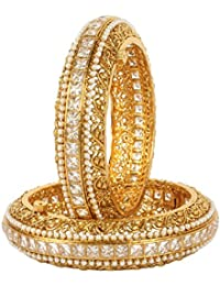 Much More Amazing Gold Tone Pearl Polki Bangles Traditional Partywear Jewelry