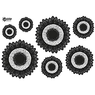 7 Funky Black Laminated GERBERA Flower PVC STICKERS. Int & Ext Use - Free Postage