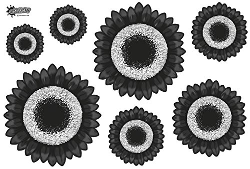 7-funky-black-laminated-gerbera-flower-pvc-stickers-int-ext-use-free-postage