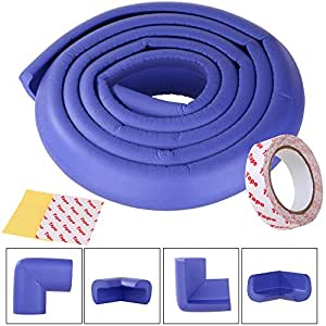 SGM Baby Safety Corner Guards, SGM® 2 Meter Long Safety Strip Tape With 3M Tape and 4 Corner Safety Guards For Kids Protection Againt Glass (Blue)