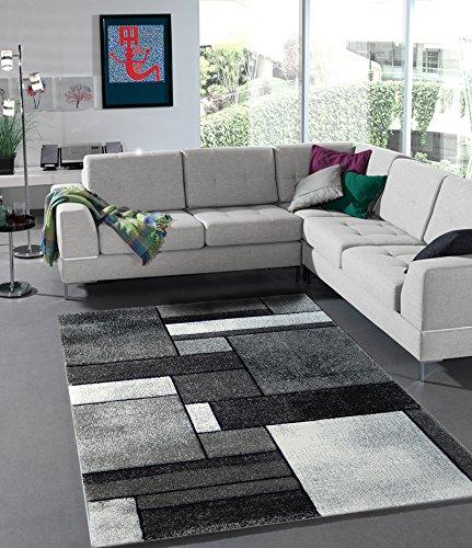 teppich eleganter wohnzimmer teppich modern meliert karo optik 160x230 cm schadstofffrei schwarz weiss - Wohnzimmer Teppich Schwarz Weis