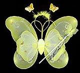 Disfraz de hada, alas de hada-mariposa para niñas y niños, varita y diadema, fiesta de disfraces cosplay, conjunto de 3 piezas