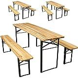 Miadomodo - Ensemble table et bancs de brasserie en bois - 9 pièces - pliables - pour tonnelle, chapiteau, camping etc. - QUANTITÉ AU CHOIX