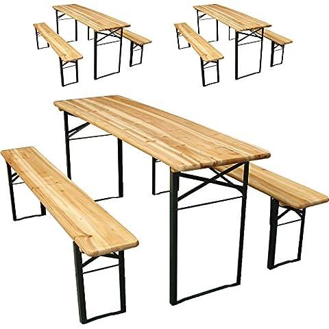 Miadomodo – 3 conjuntos de mesa y bancos de cerveza para jardín ( 3 mesas y 6 bancos )