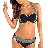 Damen Bikini Set mit Bügel Gepolstert Streifen und Polka Dots Push up Neckholder Tribal Soft Cups