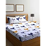 Portico New York Stellar Home USA Super Satin Oliver Printed Double Bedsheet With Pillow Cover, 230X1X250cm(Multicolour)