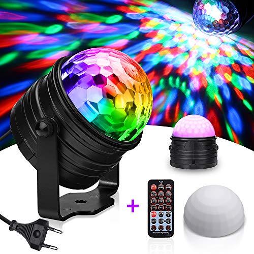 Discokugel Nachtlicht Kinder SOLMORE Discolicht Partylicht LED Lichteffekte Disco Ball mit RGB 7 Farbe 3W Lampenschirm Fernbedienung Soundkontrolle für Kinder Weihnachten Club Partei
