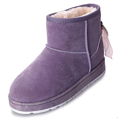 Chaussures Femme Pu Hiver Fourrure Synthétique Bottes De Neige Talon Plat Bottes Round Toe Bottines / Bottines Vêtements Décontractés Marron Violet Noir Gris, Violet, Us8.5 / Eu39 / Uk6.5 / Cn40 Violet
