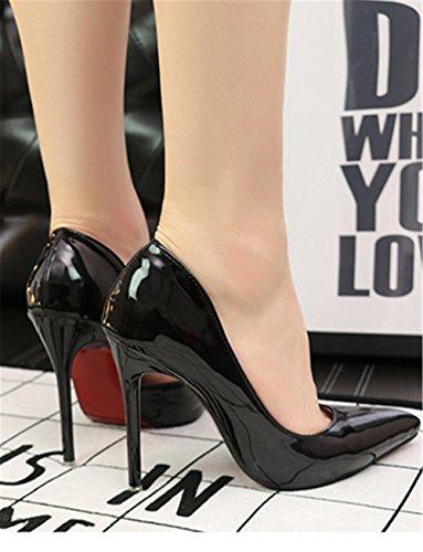 d9fe02a47cf5a6 ... Wealsex Escarpin Vernis Bout Pointu Talon Aiguille Haute 10 CM Mode Sexy  Simple Classique Femme Noir