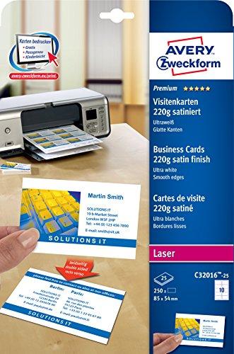 AVERY Zweckform C32016-25 Premium Visitenkarten (250 Stück, 85 x 54 mm, beidseitig bedruckbar, satiniert, 25 Blatt)
